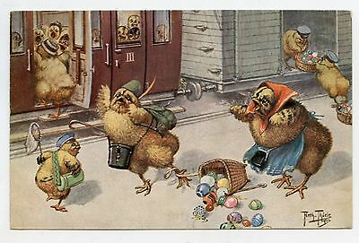 ARTHUR THIELE . Pâques . LES POUSSINS à la Gare. Chicks at the station .EASTER