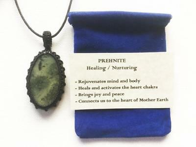 Prehnite Pendant Crystal Gemstone Necklace, Adjustable Cord, Velvet Pouch