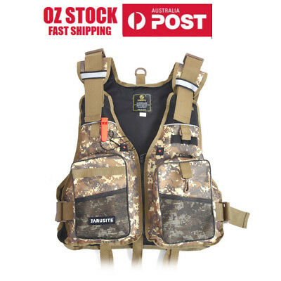 Mens Adjustable Waterproof Multi-pocket Fly Fishing Backpack Chest Mesh Bag Vest