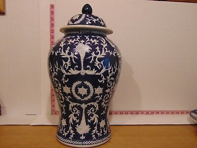 """19"""" Blue & White Porcelain Floral Decorative Urn Made In China"""