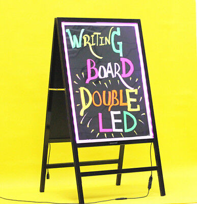 100 x 53cm HUGE LED Double Sided Fluro Sandwich Sign Writing Board Mains Battery