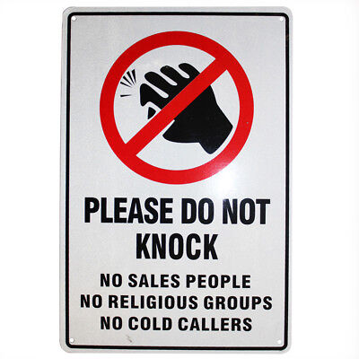 WARNING SIGN DO NOT KNOCK SALES RELIGIOUS COLD CALLER  225x 300mm Metal Notice