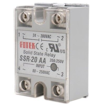 Solid State Relay SSR-20 AA AC to AC 20A INPUT 80-250VAC OUTPUT 24-380VAC