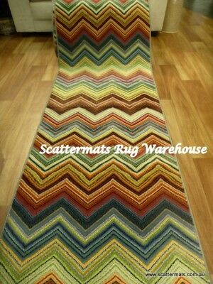 Clearance Ready to go Hall Runners from end of Rolls Chevron Zig Zag Retro Funk