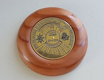 40 Years Calendar Made From Carved Memorial Trees Legerwood Tasmania & Brass.