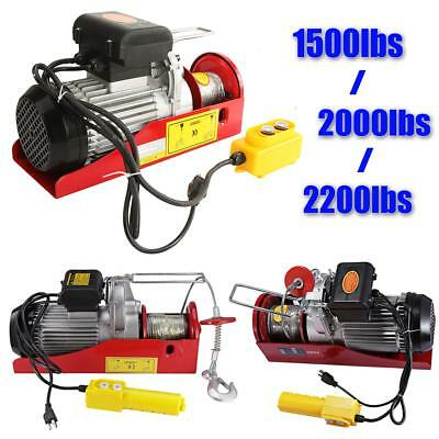 1500/2000/2200 lbs Electric Wire Hoist Winch Lifting Hanging Engine Crane Lift
