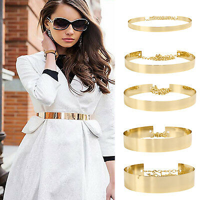Multi-size Band Wide Plate Gold Ladies Mirror Vogue Belt Metal Chains Waist