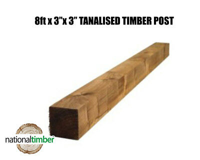 """8ft x 3"""" x 3"""" Tanalised Treated Timber Fence Posts Cheap Bargain Prices"""