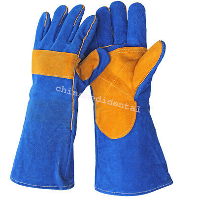 Practical Men's Cushion Core Cowhide TIG MIG Welding Gloves Double Palm 40cm