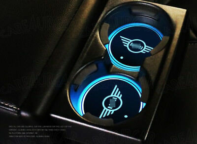 2PCS LED Car Cup Holder Coaster Pad Mat for MINI Auto Interior Atmosphere Lights