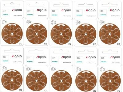 Signia hearing aid batteries (Size 312) - 10 cards (60 cells)