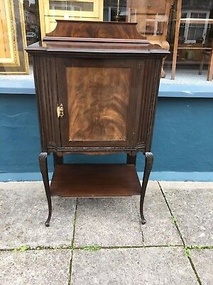 Victorian 1 door mahogany music cabinet on carved cabriole legs with key #1477C