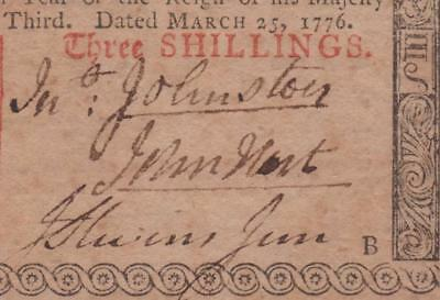 """John Hart signed"" PCGS CU63 PPQ ** NJ-177 March 25, 1776 3s New Jersey Colonial"