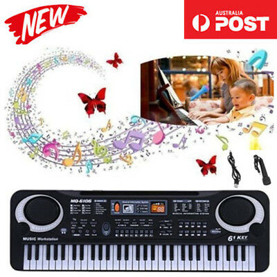AU 61 Key Music Electronic Keyboard Electric Digital Piano Organ + Microphone