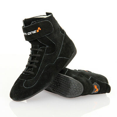 Turn One Basic Black Race/Rally/Racing Suede Boots/Shoes