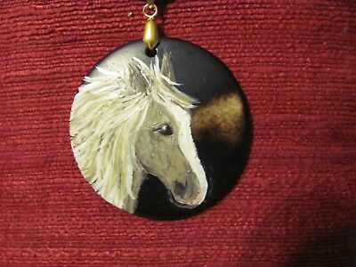 Horse, American Saddlebred, hand painted on round pendant/bead/necklace