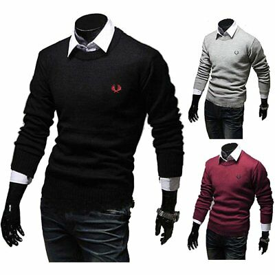 Homme Pull Pullover Cardigan Tricot Brodée Col Rond Manches Longues Décontracté