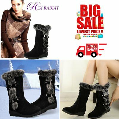2017 Women Snow Boot Fur Warm Winter Round Toe Knee High Boot Anti-slip Shoes GT