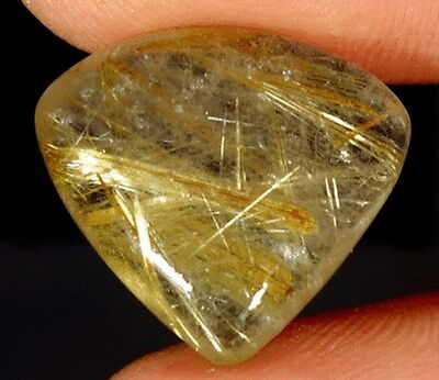 "Cabochon pierre fine Quartz rutile ""or""  18x19x6 mm"