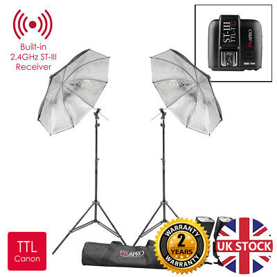 Li-Ion580II TTL Speedlite Set With Black/Silver Umbrella Kit For Canon V860II