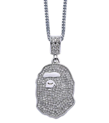 Bape Bathing Ape Custom Iced Pendent Chain Necklace Silver *ONE DAY DISPATCH*