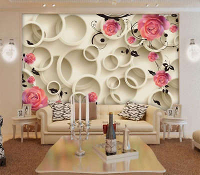 Terrific Red Rose 3D Full Wall Mural Photo Wallpaper Printing Home Kids Decor