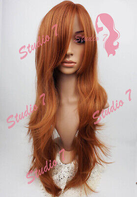 W97 Dark Ginger Extra Long Synthetic Ladies Wig Layered Skin Top Wavy studio7-uk