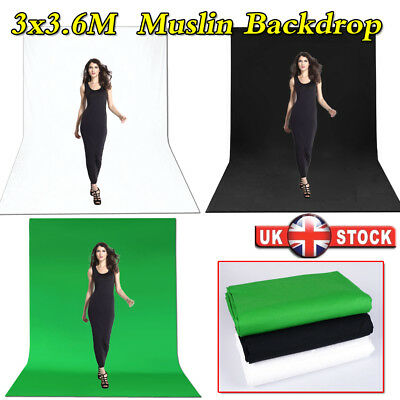 3m x 3.6m White Green Black Muslin Cotton Photography Background Backdrop Screen