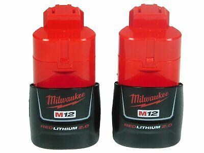 Authentic Milwaukee 48-11-2420 Two Pack M12 12V Lithium-Ion Batteries 2.0 Ah