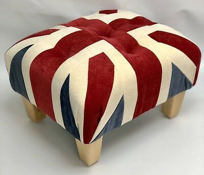 Union Jack Footstool Pouffe Small Red White Blue Wood Feet British Made