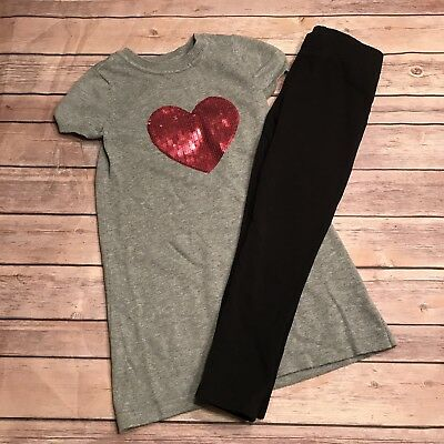 Lot of 2 The Children's Place Heart Sweater Dress Jumping Bean Leggings Size 5