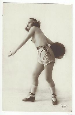 1920 French NUDE Photograph - Youthful Athletic Sport Girl Throws Discus, Sports