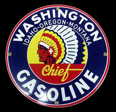 Washington Chief Gasoline Oil Porcelain Advertising Sign