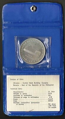 Philippines 1974 Central Bank Building Complex 25 Silver Peso With Holder
