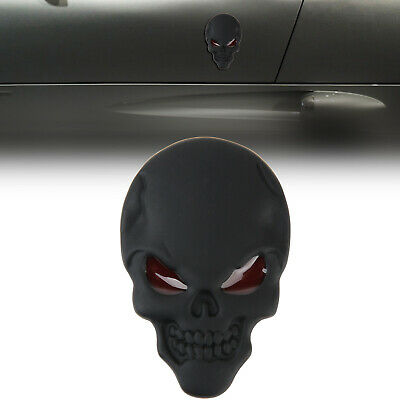 1x 3D Red Eyes Devil Skull Bone Metal Car Emblem Badge Sticker Decal Matte Black