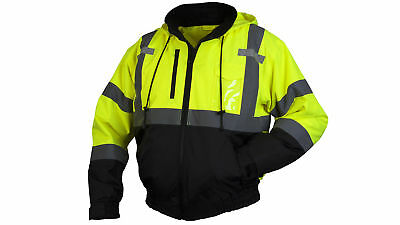 Pyramex Class 3 Reflective Safety Bomber Jacket with Zip Out Liner, Hi-Vis Green