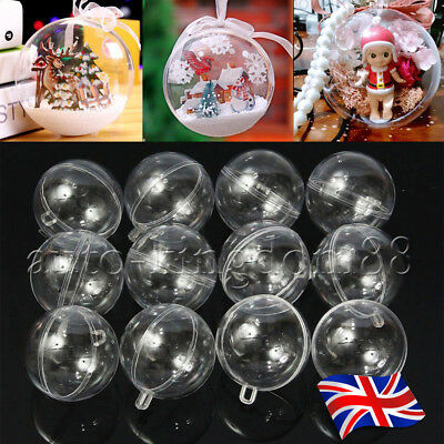 15pcs 60mm Clear Balls Baubles Sphere Fillable Christmas Tree Ornament Gift UK