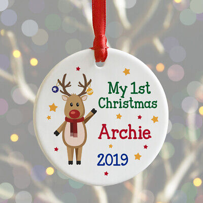 Personalised My First 1st Christmas Bauble Xmas Tree Decoration Baby Babies Gift