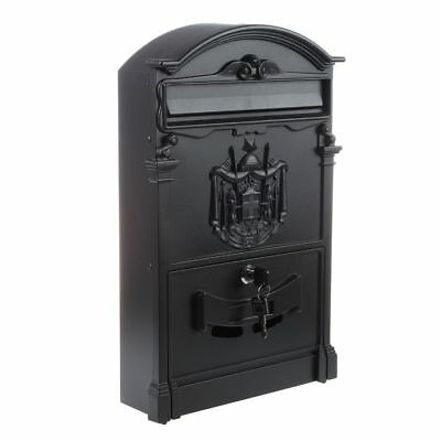 Heavy Duty Black Aluminium Lockable Secure Mail Letter Post Box V5K9