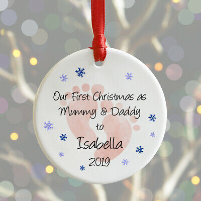 Personalised First Christmas As My Mummy & Daddy Xmas Bauble New Baby Decoration