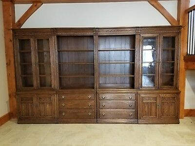 Ethan Allen Royal Charter Oak Wall Units; 2 Bookcase Units/2 Curio Cabinet Units