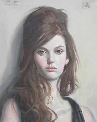 Original Fine Art Portrait Oil Painting Of Beautiful Serene Ethereal Young Woman