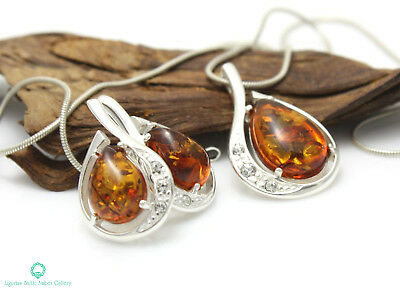 NATURAL BALTIC AMBER SILVER 925 EARRINGS & PENDANT + CHAIN SET Certified
