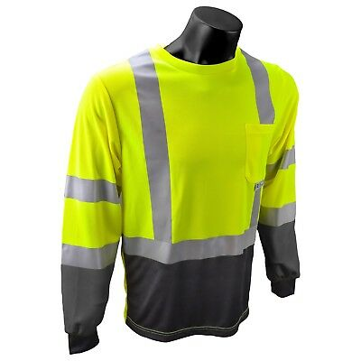 Radians Class 3 Reflective Long Sleeve Safety Shirt, Hi-Vis Green
