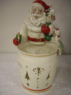 """Santa Candlelight 7 1/2"""" Inch Glass By Lenox"""