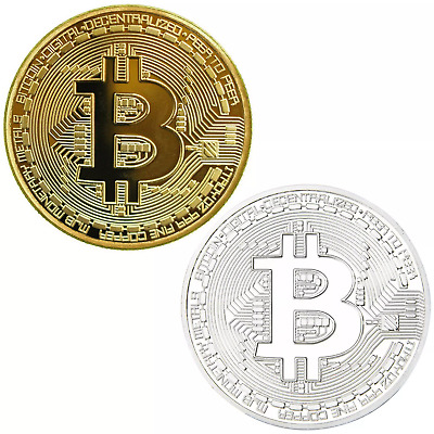 Bitcoin Collector's Coin Set w/Display Case - 2Pcs w/Random Color and Design
