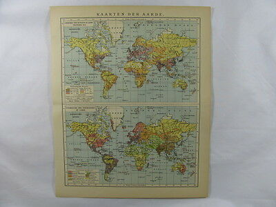 Antique Maps of the Earth Globe Population Density Religion Dispersion