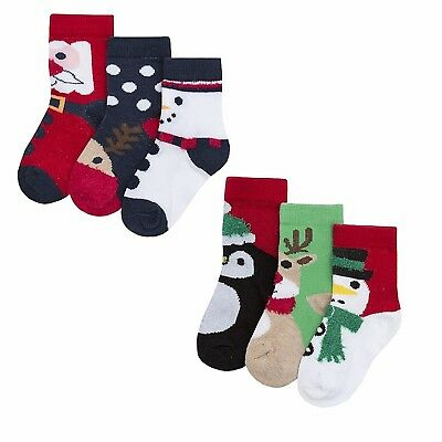 3 Pairs of Baby Girls or Baby Boys Christmas Pattern Socks Cotton 0-24 Months