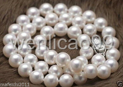 """natural 9-10mm AAA+ south sea white Round pearl necklace 18"""" silver Clasp"""