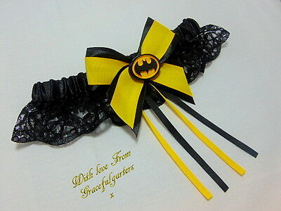 batman lace Bridal Wedding Garter.